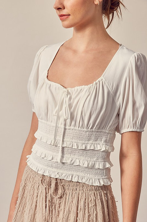White Puff Sleeve Smocked Top