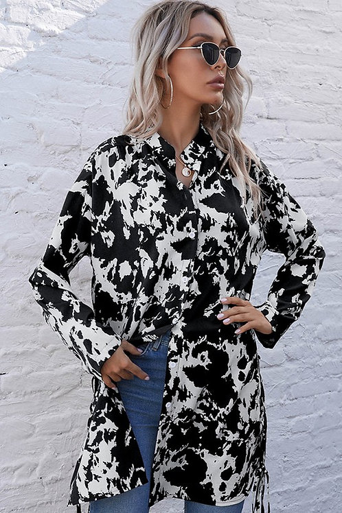 Cow Print Shirt Dress