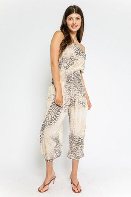 Beige & Leopard Strapless Jumpsuit