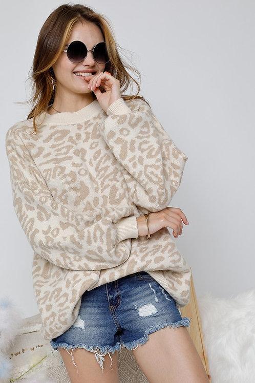 Taupe Animal Print Sweater