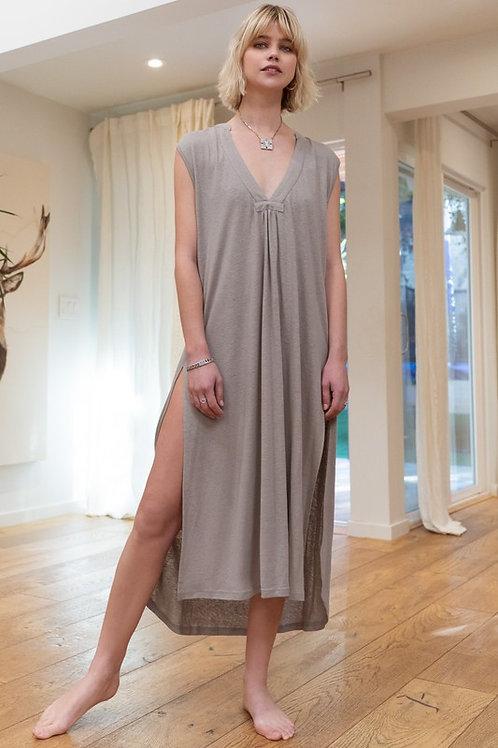 Taupe Slit Maxi Dress