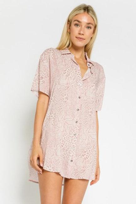Pink Snake T-shirt Dress