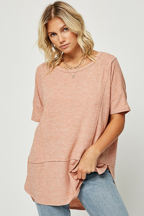Coral Soft Knit Tee