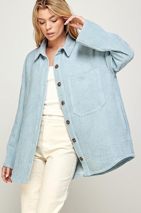 Baby Blue Corduroy Shirt Jacket