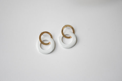 White Wooden & Metal Circle Earrings