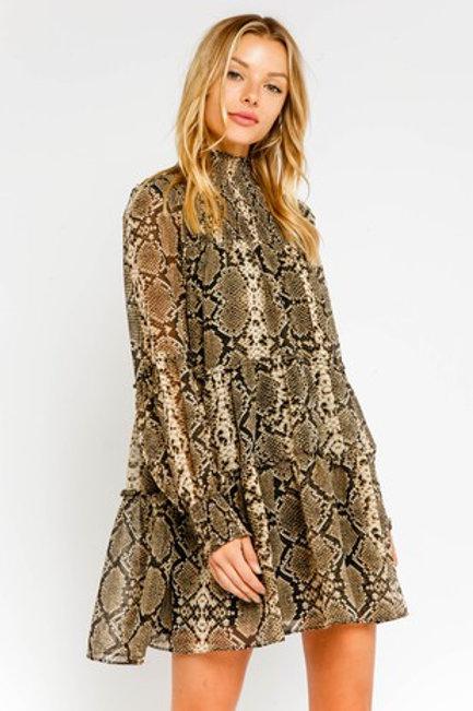 Snake Smocked Dress
