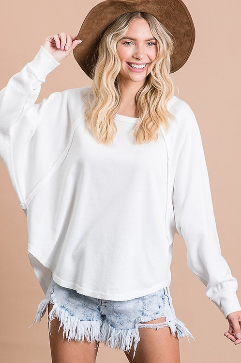 White Round Hem Sweater