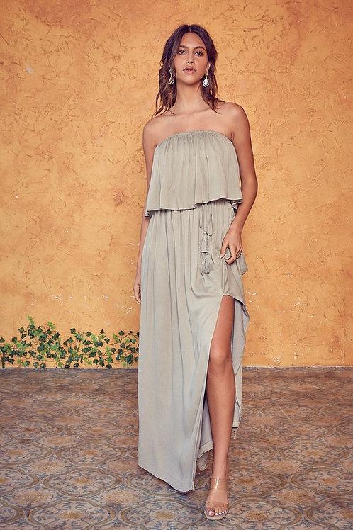 Sage Strapless Maxi Dress