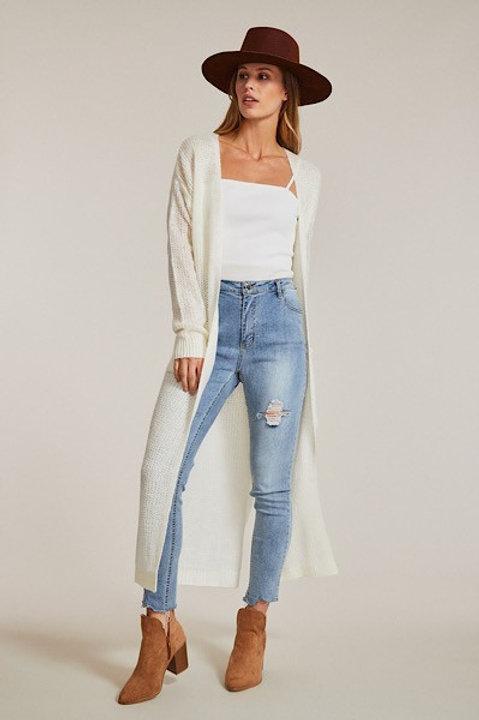 Off White Longline Knit Cardigan