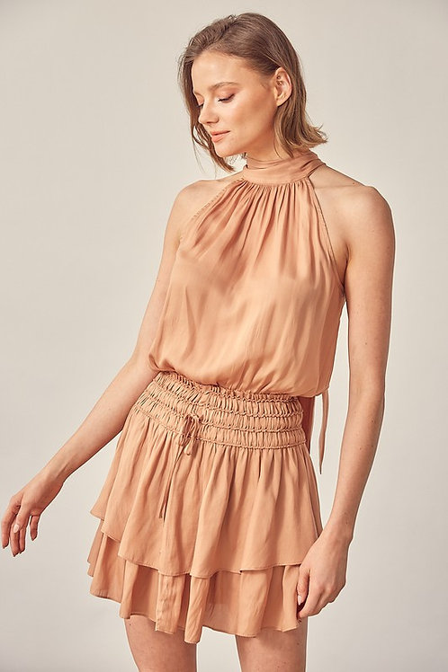 Camel Halter Smocked Dress