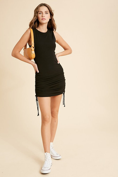 Black Drawstring Fitted Dress