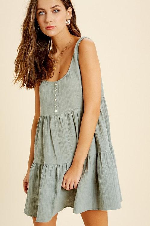 Button Down Babydoll Dress