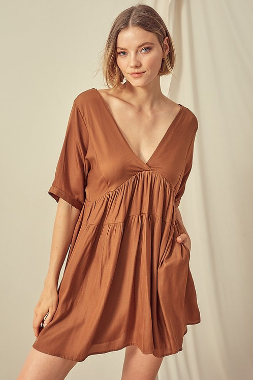 Camel V-neck Babydoll Dress