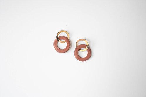 Brown Wooden & Metal Circle Earrings