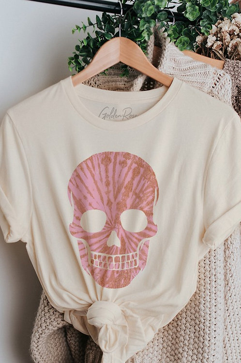 Pink Tie Dye Skull Tee