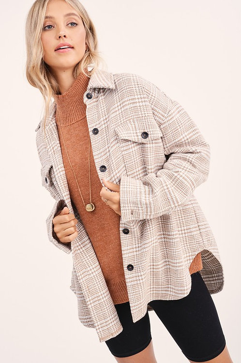 Taupe Plaid Oversized Shirt Jacket