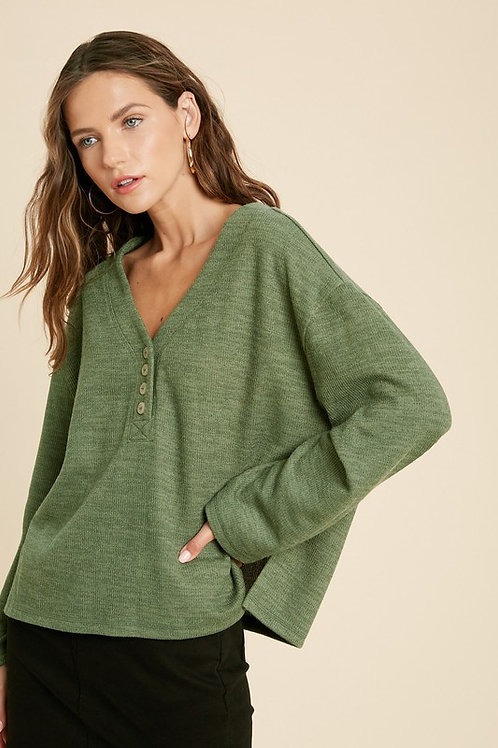 Olive Textured Button Sweater