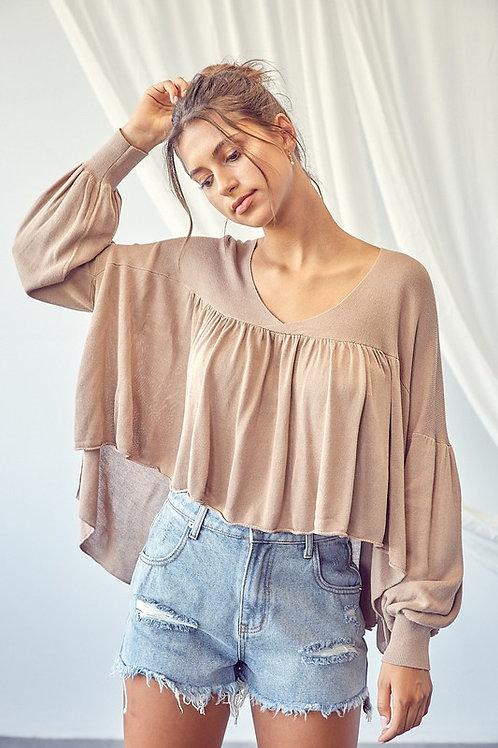 Mocha Balloon Sleeve Sweater