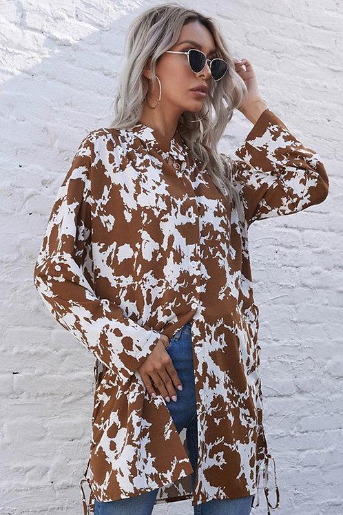 Brown Cow Print Shirt Dress