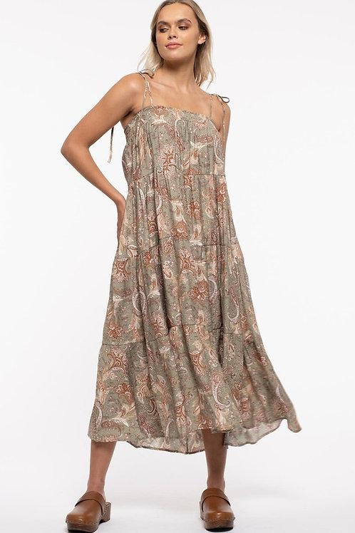 Olive Paisley Maxi Dress