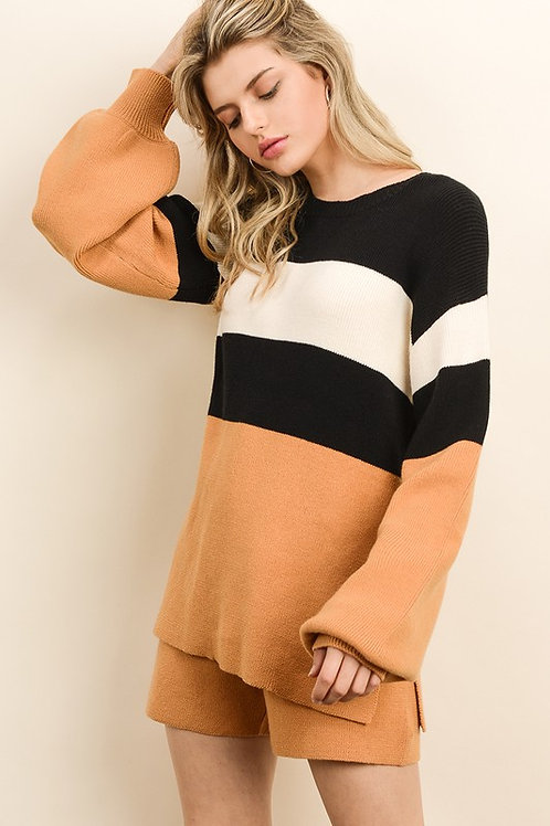 Orange & Black Colorblock Sweater