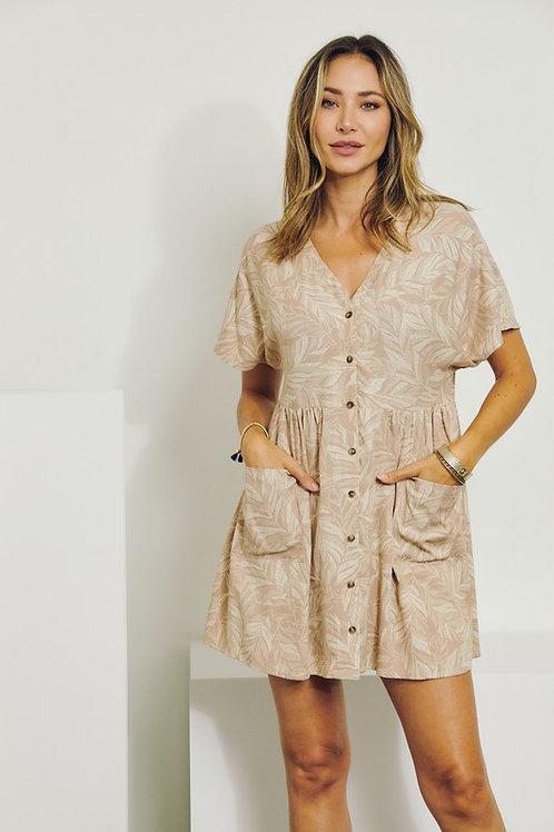 Tan Floral Button Dress