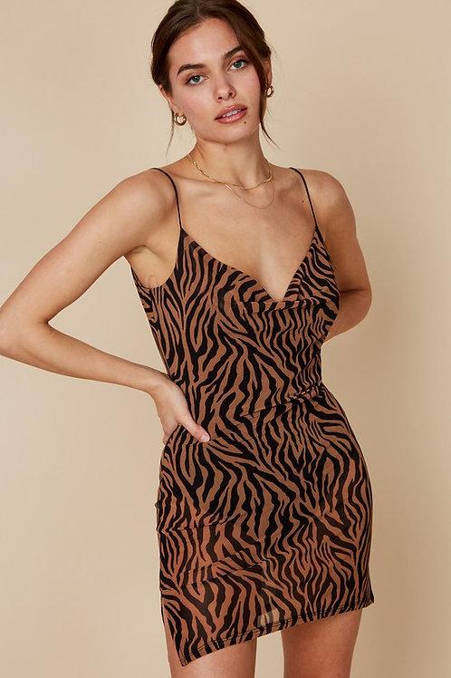 Animal Print Mesh Mini Dress