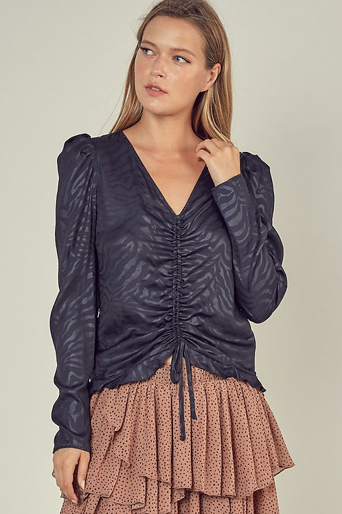 Front Ruched Detail Puff Sleeve Top