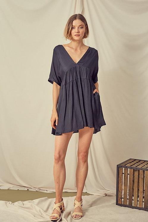 Black V-neck Babydoll Dress