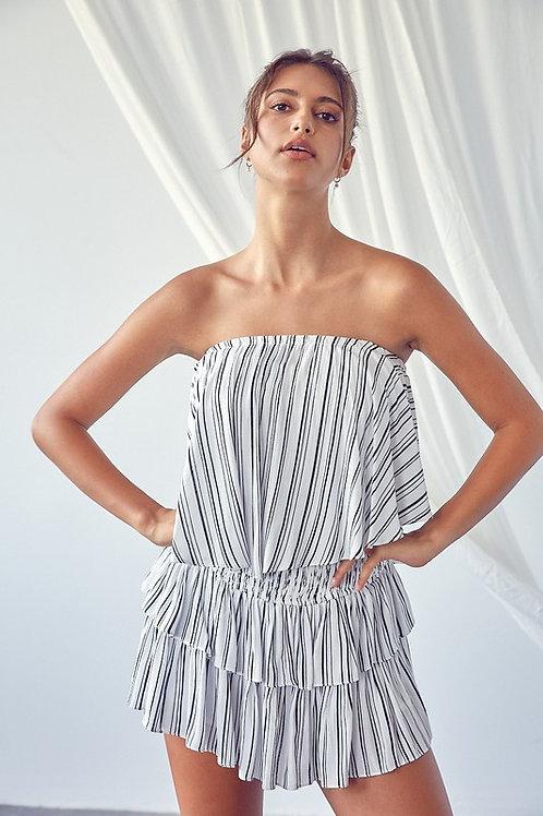 Black & White Striped Romper Dress