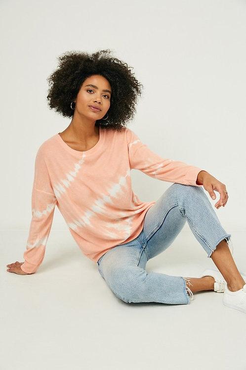 Coral Tie Dye Soft Knit Sweater