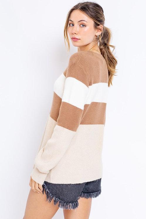 Neutral Stripe Knit Sweater