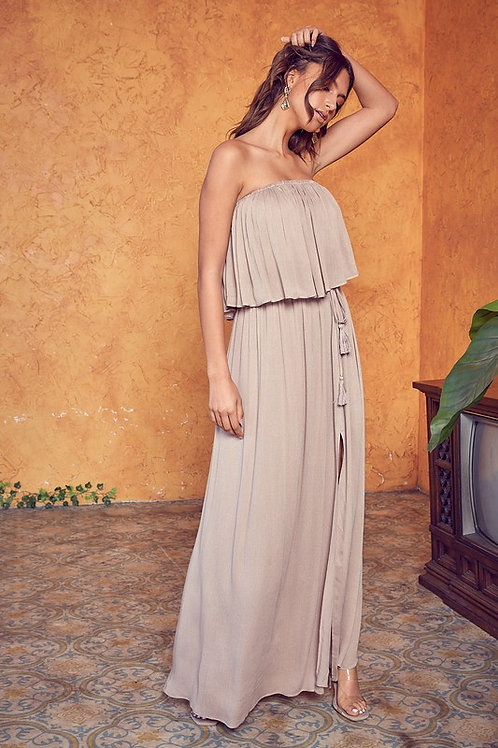 Taupe Strapless Maxi Dress