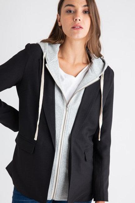 Hoodie Inset Blazer Jacket