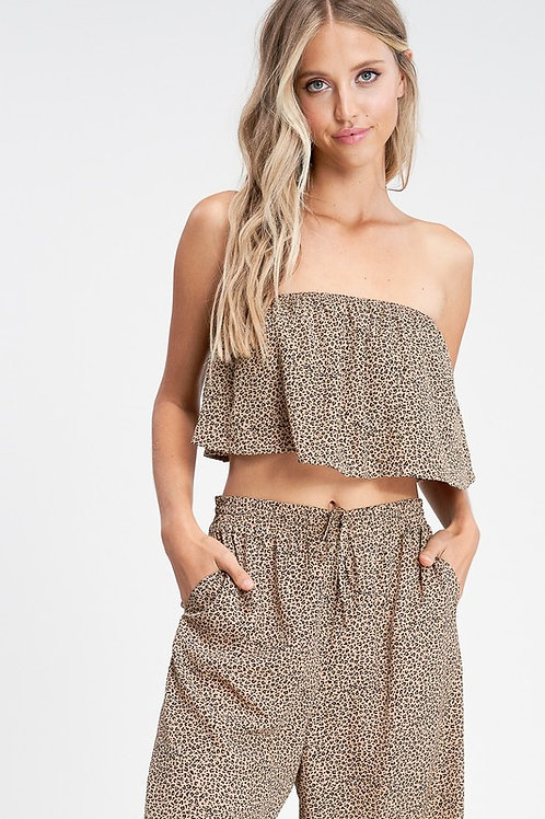 Strapless Leopard Top