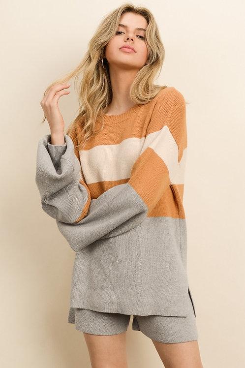 Orange & Gray Colorblock Sweater