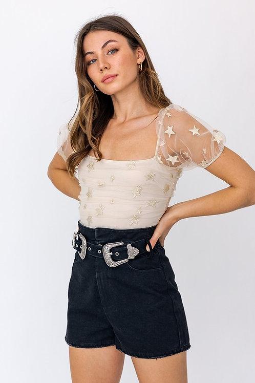 Starry Mesh Short Sleeve Bodysuit