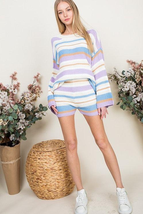 Lavender Striped Shorts