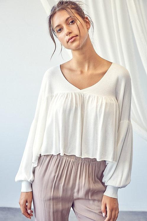 Off White Ballon Sleeve Sweater