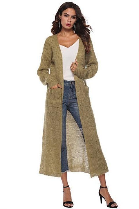 Olive Longline Knit Cardigan