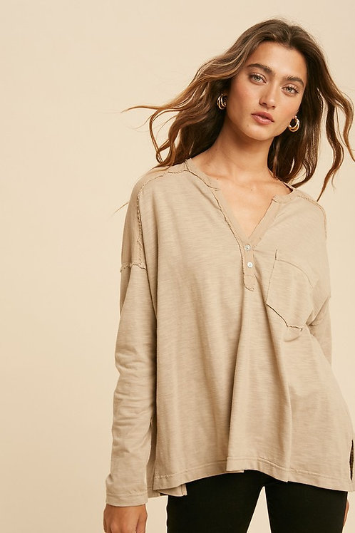 Taupe Long Sleeve Henley Top