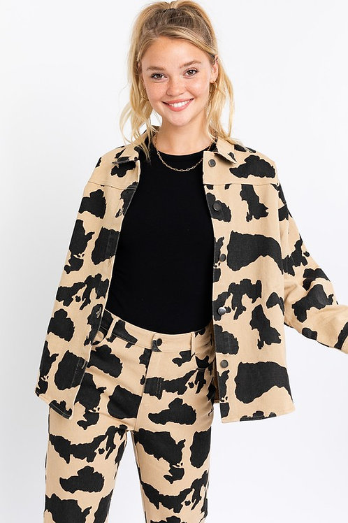 Tan Cow Print Jacket