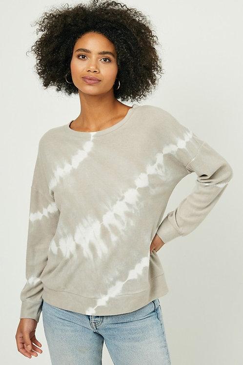Gray Tie Dye Soft Knit Sweater