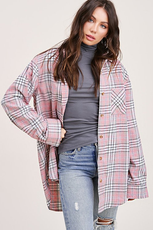 Dusty Pink Plaid Flannel
