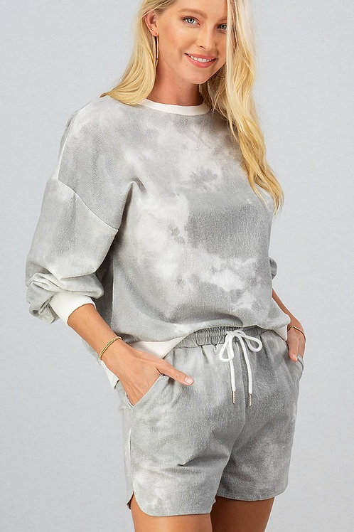 Gray Tie Dye Shorts