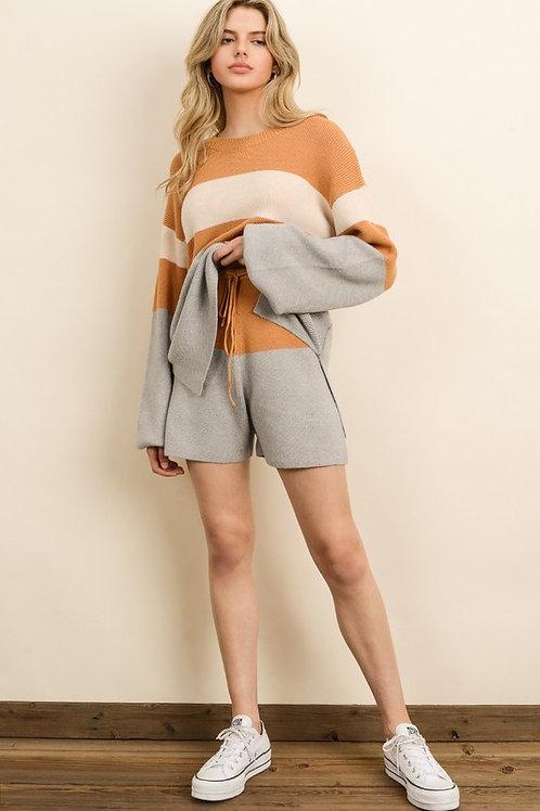 Orange & Gray Colorblock Shorts