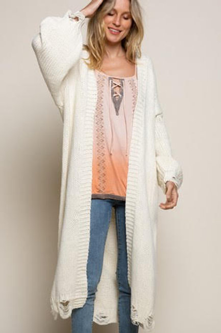 Cream Knit Sweater Cardigan