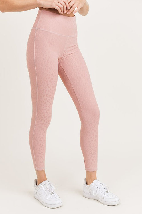 Blush Textured Leopard Leggings