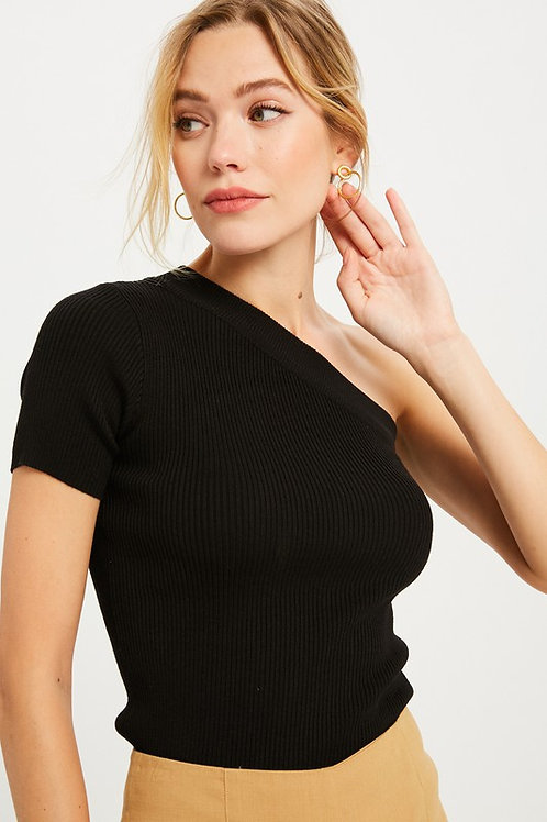 Black One Shoulder Ribbed Knit Top