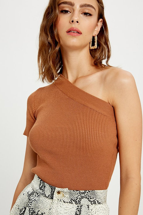 Rust One Shoulder Ribbed Knit Top